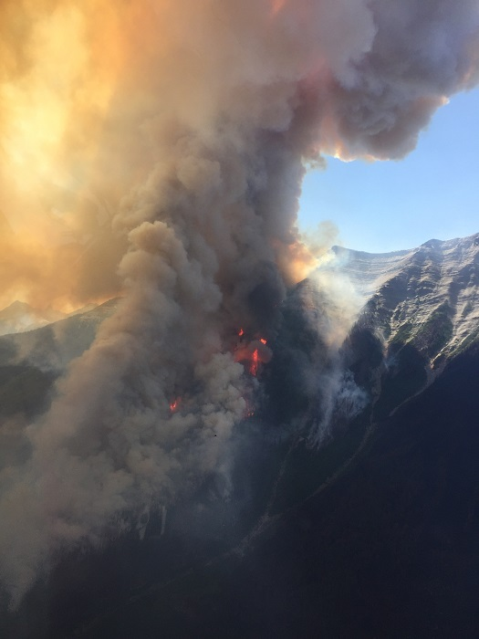 Ausbruch des Feuers am Verdant Creek im Kootenay National Park
